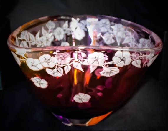 Hand Engraved Bowl, Morning Glory, HandBlown, Engraved, Floral, Homedecor, Wedding Gifts, Birthdays