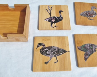 Set of 4 coasters with holder ducks in cameo