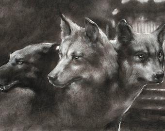 Postcard - Guardian of the Gate - Cerberus the three-headed dog - mini art print of a charcoal drawing