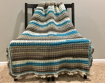 Blue and Neutrals Afghan
