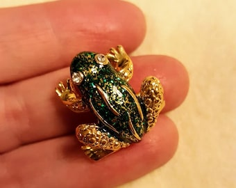 """Vintage Signed ROMAN Frog Brooch,1"""" by 7/8"""",gold tone,hat,scarf pin,3D enamel,rhinestone,small animal,pet,gift"""