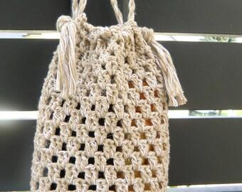 Handmade small openwork crochet bag