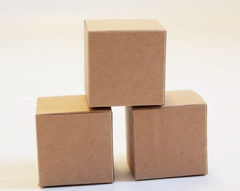 Kraft Natural Gift Box 3x3x3  Lot of 50