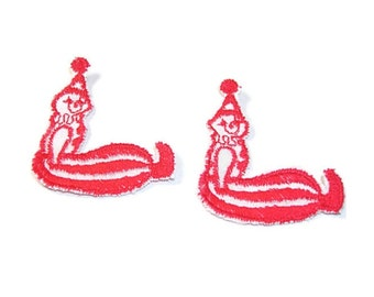 Clown Appliques, Red and White, Circus Clown, Carnival Clown, Embroidered Applique, Embroidered, White and Red, Red Clowns, Clown Patch, Lot
