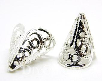Silver Tone Bead Cones 16x11mm - 100Pcs - FH25503