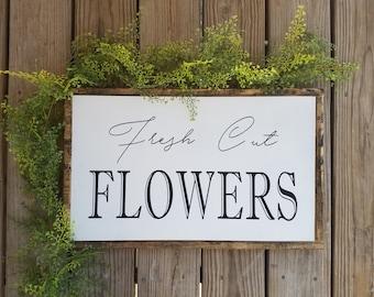 FRESH CUT FLOWERS, Wooden Sign, Spring, Summer