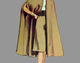 1970 Unlined Cape in Two Lengths and Gaucho Pants Pattern Simplicity 9249 with collar or hood, Size 16 Bust 38 UNCUT