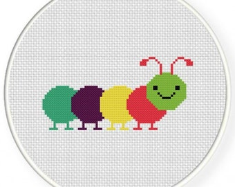 Colorful Caterpillar, Handmade Unframed Cross Stitch-Home Decor, Childrens Art, Kids Gift, Gift for Kids, Kids Room Art, Kids Room Decor