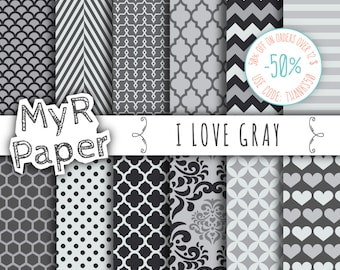 "Gray digital paper: ""I LOVE Gray""  pack of backgrounds and patterns with  chevron, polka dots, stripes, dots, damask, quatrefoil, hearts"