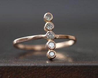 Diamond Bezel Vertical Bar Ring