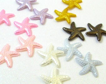 Pastel Starfish Post Earrings - One Set Of Pearly Acrylic Sea Star Simple Stud Earrings - Pink, Purple, White, Silver, & Black