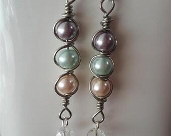 Wire Wrapped Pearl Bead Dangle Earrings
