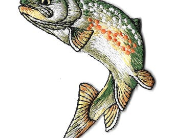 Fishing - Golden Trout - Fish - Embroidered Iron on Patch - Style A