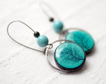 Tree earrings, turquoise earringsTree silhouette earrings, Turquoise earrings, Tree of life earrings, Branch jewelry