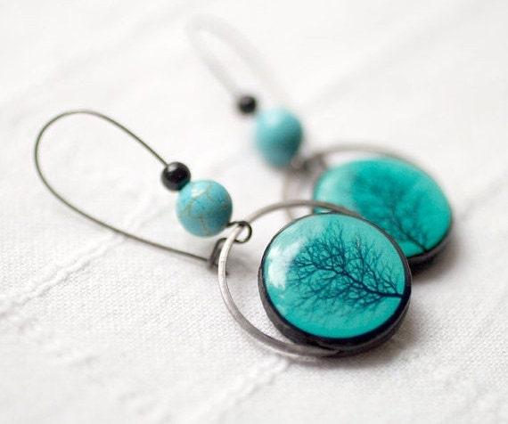 Silhouette Earrings: Tree Earrings Turquoise EarringsTree Silhouette Earrings