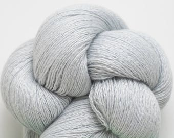 Silver Blue Silk Cashmere Lace Weight Recycled Yarn, SCH 00301