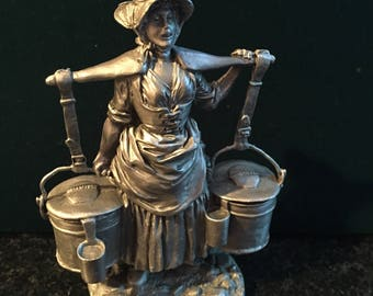 THE MILKMAID FIGURINE Fine Pewter by the Franklin Mint 1977