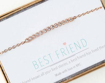 Friendship Bracelet, Gift for Sister, Best friend Bracelet, Graduation Gift, Rose gold Bracelet, Crystal Bracelet, Gift for her, B164K-RG-13