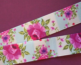 pretty pastel Ribbon with pink flowers