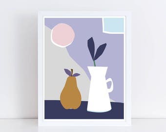 Scandinavian print, still life, kitchen print, colorful wall art, fruit print, scandinavian art, pear print, plant print, minimalist, coffee