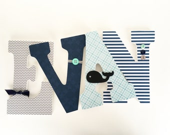 Custom Wooden Letter Set - Aqua, Gray, and Navy Blue - Baby Name Hanging Letters - Grey