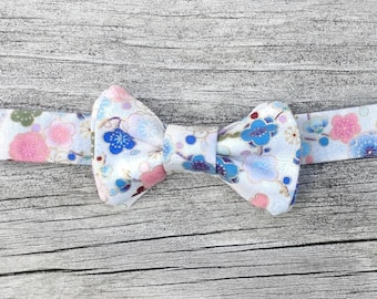 Asian-inspired floral print little boy's bow tie - sizes S (0-2yrs), M (2-4yrs), L (4+yrs) available