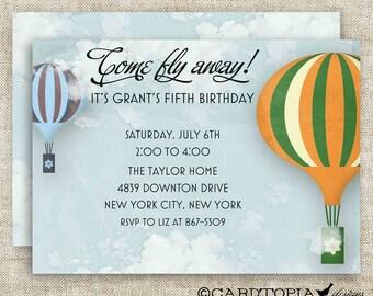 Vintage HOT AIR BALLOON Birthday Party Invitations Boy Digital diy Printable Personalized Cards - 92049055