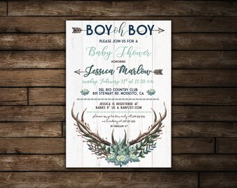 Rustic Baby Boy Shower - Antler Baby Shower | Printable Rustic Baby Shower Invitation