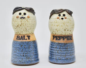 Vintage Stoneware Salt and Pepper Shakers Figural Man and Woman Larger Sized Salt and Pepper