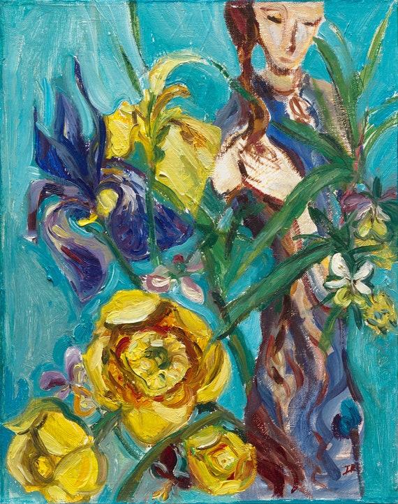 Ölgemälde Iris und SEEROSEN original / traditionelle