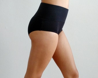 Black Organic Cotton Panties, High Waisted Bamboo Underwear, Natural Boybriefs, Lower Abdomen Compression, No Roll Elastic, Tummy Tuck In