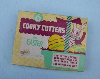 Vintage Metal Easter Cooky Cookie Cutters, Original Box, Set of 6