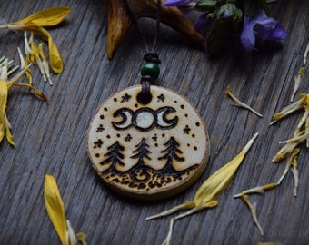 Magic Necklace ~ Moonin ~ made of wood Pyrography