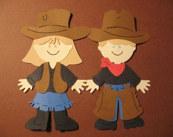 Cowboy and Cowgirl Paper Doll diecuts- 4 inches tall-cricut
