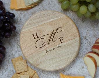 """Design's Personalized Wedding Cutting Board with Couple's Monogram Design Options and Font Selection (Each - 7"""" Diameter)"""