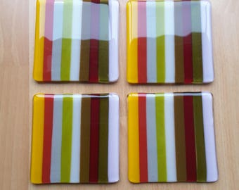 Set of 4 square Fused Glass Coasters