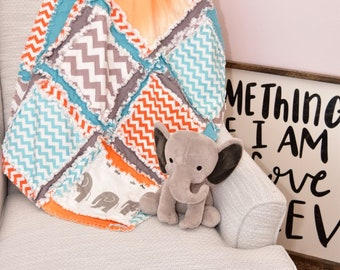 Elephant Baby Boy Quilt - Teal / Grey / Orange