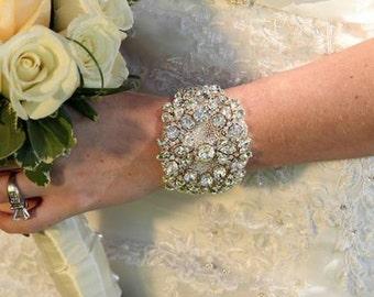 Maria Wedding Bridal Crystal Bracelet Cuff Bangle