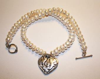 Precious Metal Clay Antiqued Heart w/ Pearls