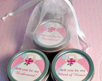 Will you be my Bridesmaid Wedding Candle Favor, Maid of Honor, Matron of Honor- Dress