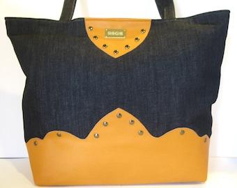 denim handbag caramel faux leather purse pocketbook tote bag