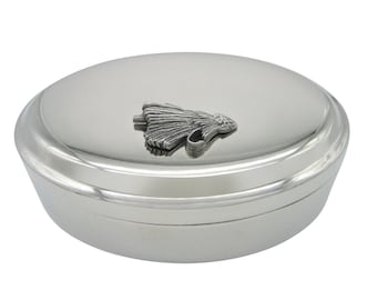 Textured Fishing Fly Pendant Oval Trinket Jewelry Box