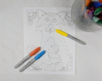 Kitteh Digital Download ZIA Zentangle Coloring Page