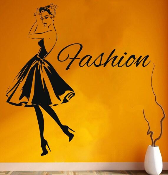Wall Decal Window Sticker Beauty Salon Woman Face Fashion