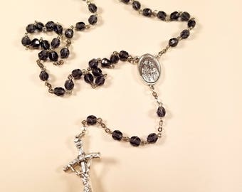 Handmade Rosary The Holy Family and Papal crucifix Montana blue Czech round glass