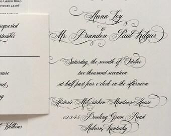 Traditional Script wedding invitation