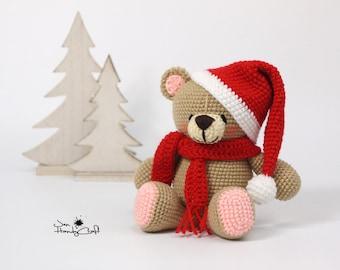 Plush teddy bear Christmas gift Stuffed teddy bear lover gift Winter holiday Nursery decor Stocking filler Christmas present Stuffed animals
