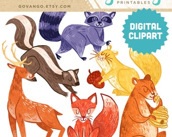WOODLAND ANIMALS Digital Clipart Instant Download Illustration Squirrel Bear Raccoon Fox Deer Wood Forest Zoo Painting Gouache Clip Art