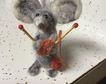 Mrs.Marble Mouse. A busy Mouse with her knitting needles, she will warm up your home with love.shes gray& white.has adoption paper too.