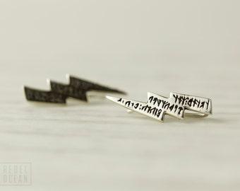 Sterling Silver Ear Cuff Moon Dots Ear Sweep Pin Earrings Boho Jewelry - FES004SSO